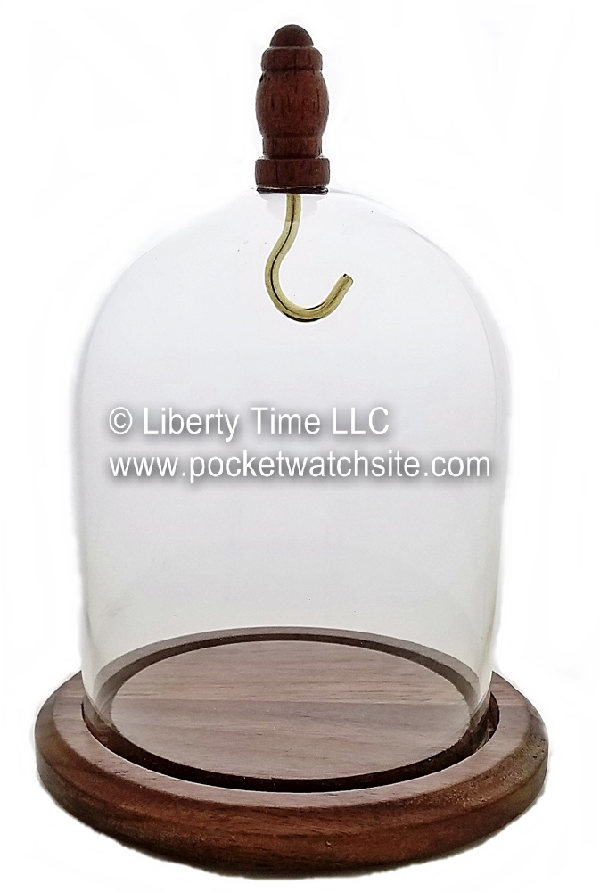 Dueber Pocket Watch Glass Display Dome with solid walnut base