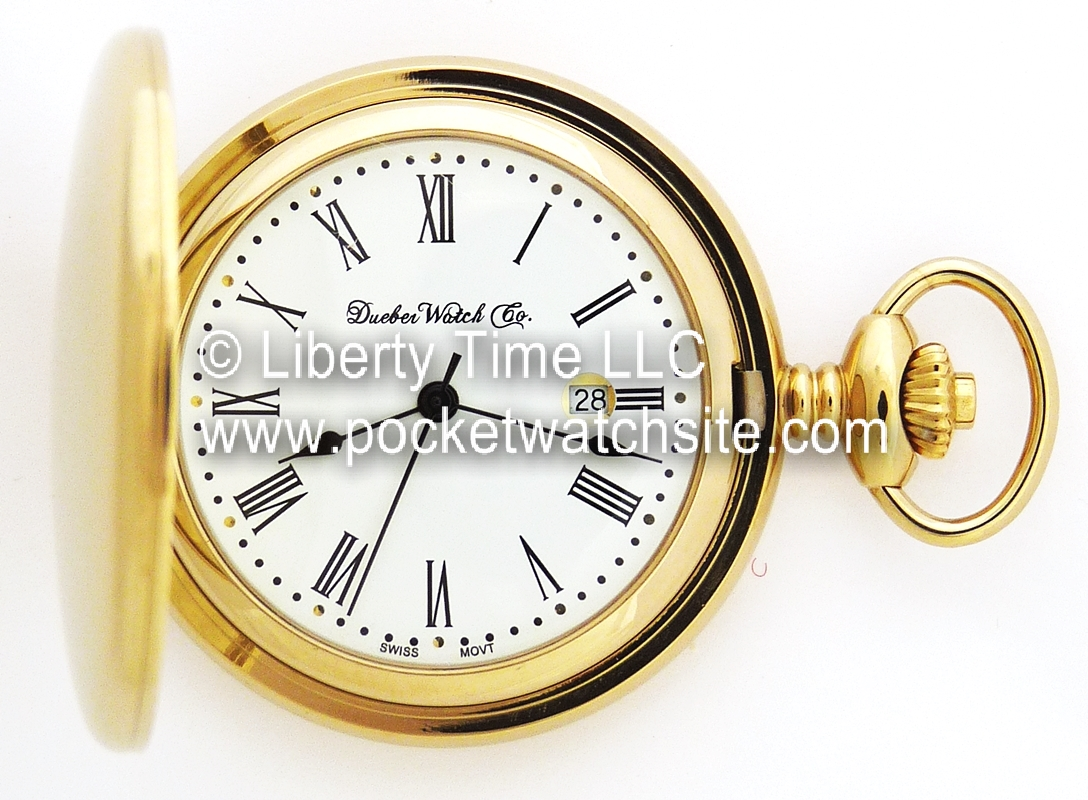 54d546c36 Dueber Watch Co Pocket Watch with Swiss Made Movement, High Polished Gold  Plated Steel Hunting Case 412-210