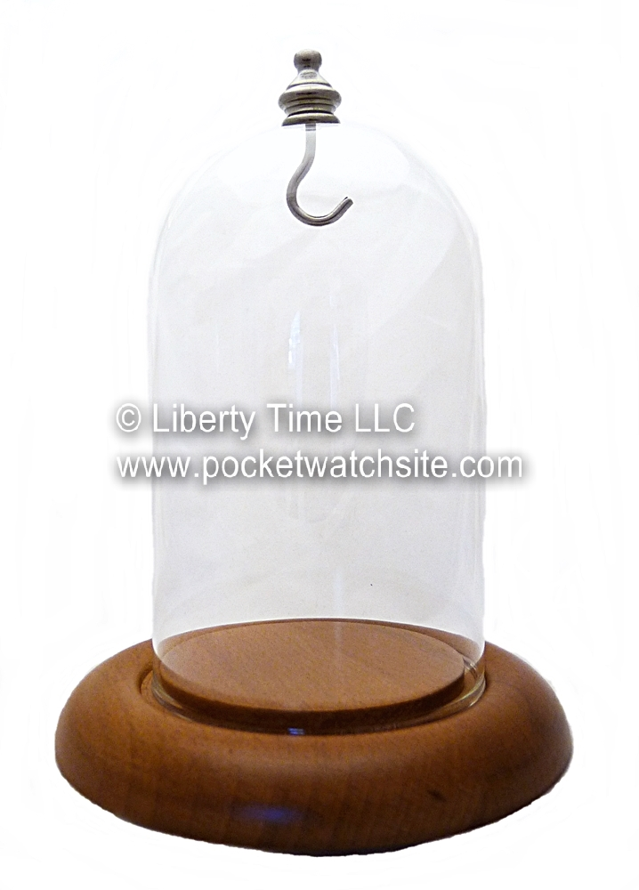 Dueber Pocket Watch Display Dome with Oak Wood Base