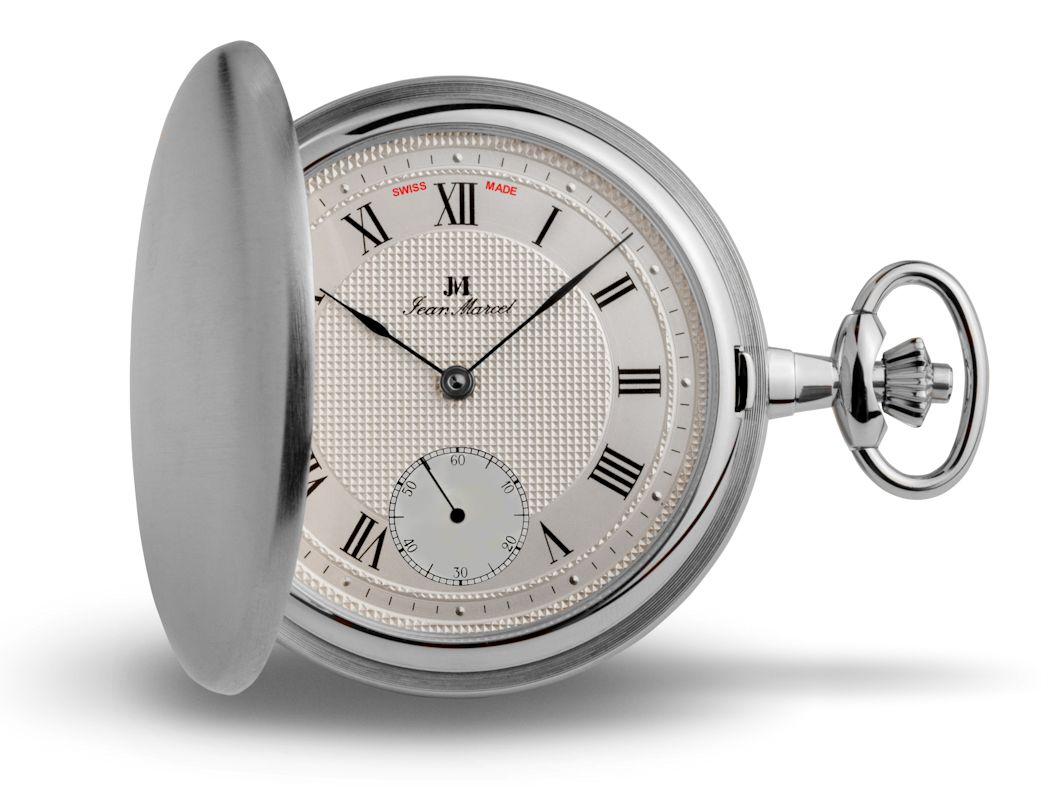 Jean Marcel Rhodium Plated Pocket Watch