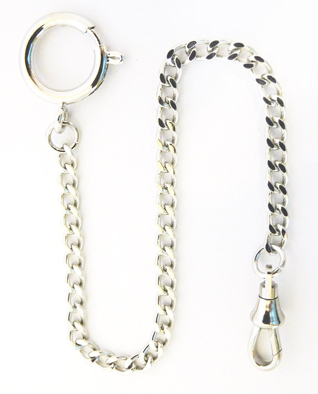 Dueber Chrome Plated Curb Pocket Watch Chain